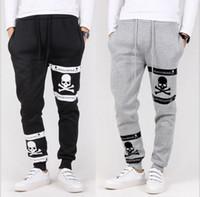 Wholesale New Brand Men Long Pants Skull print Plus velvet Harem Pants Sports Pants Clothing Fashion Slim Fit Sport Trousers