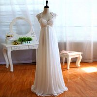 Wholesale Real Image Exquisite Sexy Chiffon Floor Length Beach Backless Empire Wedding Dresses For Woman Lace Capped Sleeves Custom Made