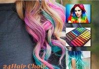 Wholesale 24 Colors set Chalk Hair Temporary Chalk Hair Color Dye Pastel Chalk Bug Rub