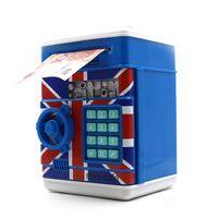 atm money box blue - ATM Bank Piggy Bank Blue Password Box Safe Locks Money Saving Box Smart Voice Prompts Money ATM Piggy Box