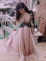 Wholesale Long Applique Panel Evening Gown - 2016Europe and the United States v-neck lace backless long-sleeved evening dess long chiffon applique floor length prom dress party gowns