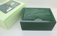 Wholesale New Luxury Mens Wristwatch Box Swiss Original Brand Green Boxes Papers For Rolex Watches Booklet Card in English Gift For Man Men Women Sale