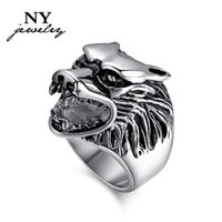 casting jewelry - TOP wolf head rings stainless steel cocktail men casting jewelry provide mix size