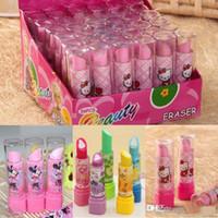 Wholesale 2015 New Lipstick shape Office eraser kids Cartoon Eraser Korean creative stationery school supplies pupil award gift P