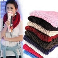 mam - 50pcs Colors Fashion Lovely Women Ladies Girls Mam Warm Knit Neck Circle Wool Blend Cowl Snood Scarf Shawl Wrap Y66