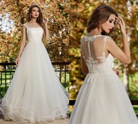 Wholesale Plus Size Lace Wedding Dresses Illusion Bridal Gowns With Crew Neck Zip Back Floor Length White Ivory Tulle New Gowns