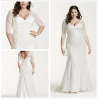 Wholesale 2016 WG3684 Lace Wedding Dresses Allover Lace V Neck and Sleeves bodice Zipper Back Plus Size Bridal Gowns