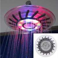 Wholesale 2015 LED Shower head Wall Mount Rainfall overhead Showerhead Shower Head with Build in LED Light Mixed color Single color colors LED