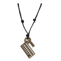 abacus pendant - Unique New Antique Bronze Women Retro Rock Wind Long Leather Necklace Letter Abacus Pendent Adjustable Unisex Knot Necklace