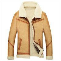 Wholesale Fall New Men Suede Leather Jackets Winter Fur Coats Size M XL Vintage Camel Coffee Man Wool Outerwear Warm Fleece Lining