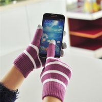 Wholesale 2014 Unisex Magic five finger Touch Screen stripe Gloves for iPhone Ipad Samsung HTC Smart Phone