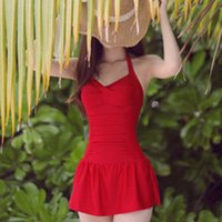 Cheap 1510 New Sexy Plus Size Swimwear Skirted Cute One Piece Swimsuit Conservative Swimsuits Push Up Women Bathing Suit M L XL XXL