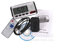 Wholesale Mini Spy Hidden Camera Clock HD Digital Alarm Clock Motion Detector Sound Recorder Digital Video PC With Remote Control for Security