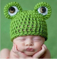Wholesale Baby Beanie Frog Crocheted Hats Cute Hand Kintted Toddler Kids Children Winter Warm Bonnet Earflap Caps Free UPS Factory Price