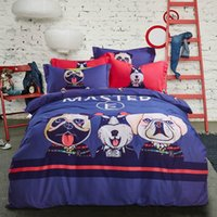 Wholesale Blue Cartoon Dog Cotton Grinding Hair Two Specifications The King Size Wool Scarf Bedding Set