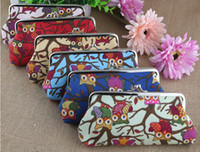 Wholesale Owl Coin Purses Inch Long size Canvas Bags Fabric Fashion Wallets Handbag Key Holder Headphone Pouch Pockets Christmas Gifts