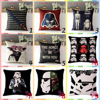Wholesale 20pcs CCA2999 Star Wars The Force Awakens Design Star Wars Cases Pillow Cover Cartoon Minions Cushion Cover Linen Christmas Pillow Case