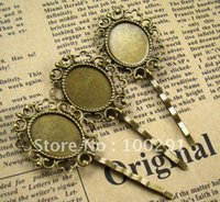bobby pins with pad - 200piece Antique Bronze With Filigree Oval Pad Bobby pin Hair clips Jewelry Findings Accessories