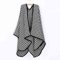 fashion ponchos for - za winter Houndstooth Poncho soft moben plaid cape check scarf for Women Fashion Knitwear ZS70