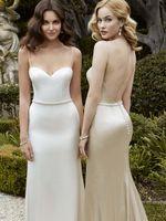 al por mayor enzoani marfil vestidos de novia-Blanco de satén del nuevo diseño azul de vestidos de novia de Enzoani espagueti escote y espalda abierta de la envoltura suave y vestidos nupciales de marfil con el marco con cuentas