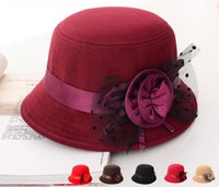 Wholesale 2016 elegant hats womens vintage bowler trilby fashion lady fedoras flower felt cap black red princess wide brim hats for women sun caps