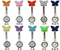 Wholesale 2015 Hot Pocket Medical Nurse Job Watches Clip on Pendant Quartz Butterfly Ladies Watch Mix color