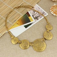big necklaces - 2016 New Foreign Trade ancient gold green double round Figure Explosion Models big European and American Fashion Necklace Factory Direct