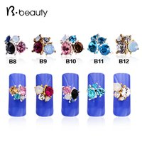 Wholesale Stylish d Alloy Nail Art Rhinestone Glitter Flower Nail Decoration Crystal Fingernail Jewelry Nail Accessory Supplies