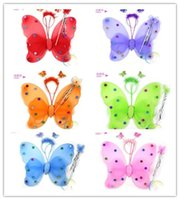 Wholesale 10sets Children Girls Butterfly Set Holloween Christmas Costume Ball Magic Wand Headband Wings Sets Kids Sequin Angel Party H1644