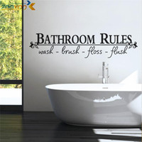 Wholesale bathroom rules home decoration creative quote wall decals zooyoo8044 decorative adesivo de parede removable vinyl wall stickers