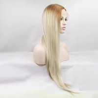 Wholesale New style ombre white blonde wig long straight wig Kanekalon heat resistant synthetic lace front wig blonde