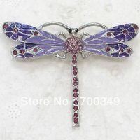 amethyst pin brooch - ashion Jewelry Brooches piece Amethyst Crystal Rhinestone Enameling Dragonfly Pin Brooch Fashion brooches jewelry gift C3