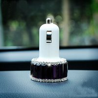 Wholesale Rhinestone Diamond Dual Port USB Car Charger Aluminum Adapter for ipad iPhone Samsung Galaxy s4 s5 android smart phones