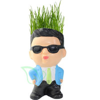 Wholesale DIY Gangnam style uncle Magic Grass Plant Pot Grass Head Doll Toy Mom s day gift