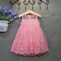 Wholesale Child Round Skirt - 2016 spring and summer Sweet Lace Round collar vest dress princess dress Tutu Skirt Fashion Dresses Children Pageant White Dresses LH05