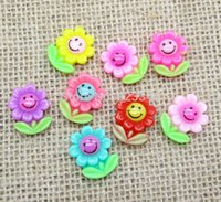 Wholesale 100Pcs Mixed Resin Smile Sunflower Flatback Cabochon Scrapbook Fit Phone Embellishment x15mm