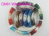 alloy tube bends - OMH x9 mm mix DIY Jewelry accessories AAA Crystal charm European bend tube beads for bracelet necklace PJ313