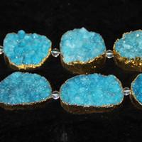 aqua quartz beads - 6pcs Strand Natural Druzy Aqua Agate Beads Gold Plated Gemstone Crystal Quartz Druzy Agate Necklace Pendant Fashion Jewelry Make Connector