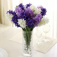 Wholesale Silk Hyacinth Flowers - Silk Hyacinth Flower Artificial Solar Power Flowers for Wedding Decorations FakeLamp Bouquet Home Decor Party Decoration