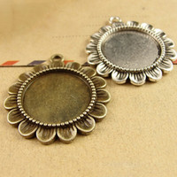 Wholesale fit MM inner cabochons Zinc alloy Sunflower base for Cabochons Pendant Making