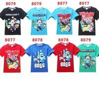 running shorts - 2015 Spring Summer Boys Minecraft Run Away terry t shirts Children s Short Sleeve Cartoon cotton Tshirt Boys shirts Tops tees colors
