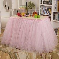 asia beads - 2015 American Style Wedding Tutu Table SkirtS with Beads cm In Stock Pink Tulle Tutu Table Skirts for Banquet and Party