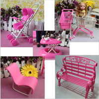 baby supermarket - 5 Items Handcart Supermarket Trolley Walker Accessories for Barbie doll girl birthday gift