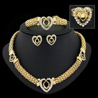 Wholesale Jewelry Sets Exaggerated Metal Crystal Rhinestone Heart Pendant Chain Necklace Bracelets Earrings Rings Bangles For Women