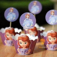 Wholesale 2014 Sophia the first princess Sophia cupcake wrappers toppers picks sofia kids birthday party supplies wraps toppers