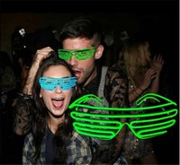 20PCS chaudes 10 COULEURS El Fil Mode Neon LED Light Up Shutter forme Glow Lunettes Rave Costume Party DJ SunGlasses flash D604