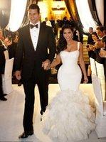 Cheap 2014 Kim Kardashian Real Model Sexy Straps Lace Ruffles Mermaid Wedding Dress Bridal Gown Chapel Train