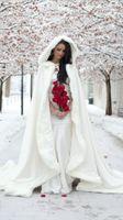 Wholesale 2015 Winter White Wedding Cloak Floor Length Bridal Free Size Wraps Wedding Shawl Wedding Bridal Accessories Bridal Coats