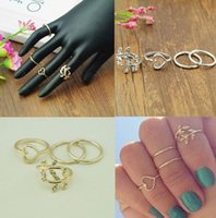 Wholesale 925 Silver Joint Rings Brief Thin Gold Midi Knuckle Rings Leaf Heart Ring Sets for Women Fashion Jewelry finger ring