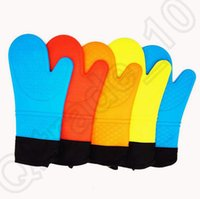 Wholesale 200PCS HHA759 Silicone Microwave oven Mitts Thicking Insulation Cotton Kitchen Cooking Baking Gloves Heat resistant Bakeware Mitts